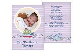 Taufe Einladungskarte Meer - Lila (K31)