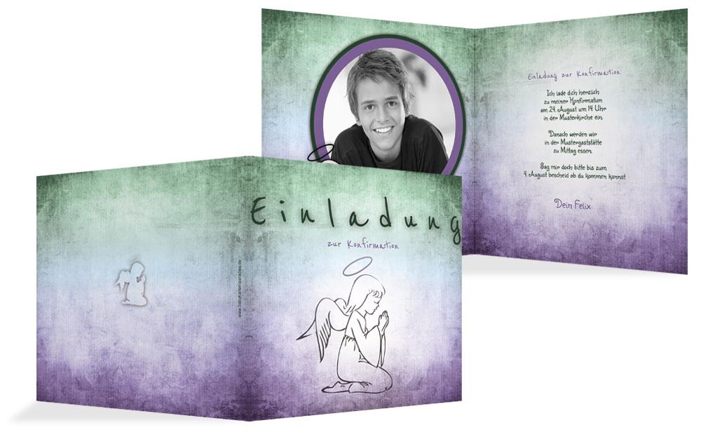 Einladungskarte Konfirmation Grunge Engel