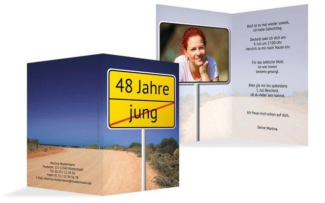 Einladung zum Geburtstag Straßenschild Foto