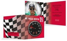 Einladungskarte Geburtstag Vollgas 18 - Rot (K24)