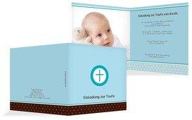 Taufe Einladungskarte Kreuzhostie - Blau (K24)