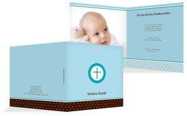 Taufe Dankeskarte Kreuzhostie - Blau (K24)