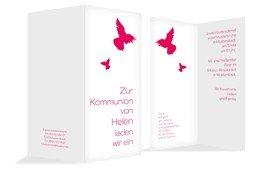 Kommunionseinladungskarte Taube - Rot (K35)