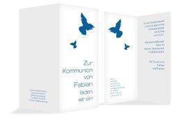Kommunionseinladungskarte Taube - Blau (K35)