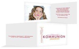 Dankeskarte Kommunion Script - Rot (K19)