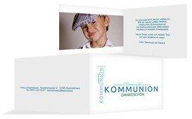 Dankeskarte Kommunion Script - Blau (K19)