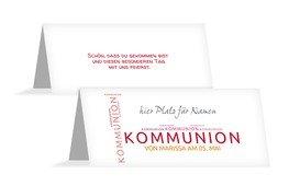 Tischkarte Kommunion Script - Rot (K32)