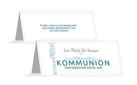 Tischkarte Kommunion Script - Blau (K32)