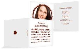 Einladungskarte Konfirmation Spruchkreis - Rot (K24)