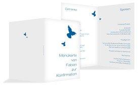 Konfirmation Menükarte Taube - Blau (K38)