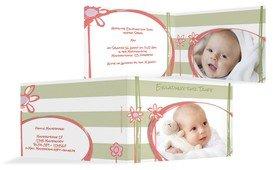 Einladungskarte Taufe Flowers and Stripes - Grün (K19)