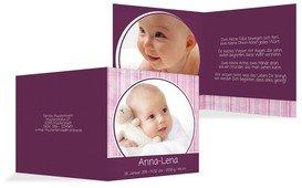 Baby Dankeskarte Streifentapete - Lila (K24)
