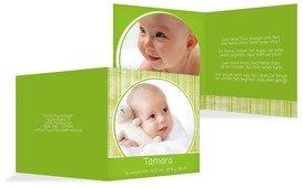 Babykarte Streifentapete - Grün (K24)