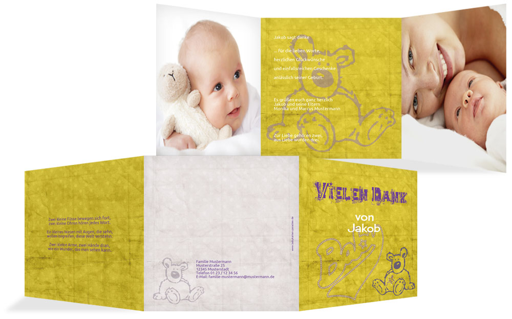 geburt dankeskarte teddy star kartenmanufaktur. Black Bedroom Furniture Sets. Home Design Ideas