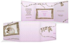 Geburtskarte Wäscheleine - Rosa (K23)