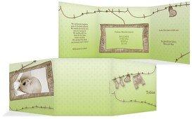 Baby Dankeskarte Wäscheleine - Grün (K23)