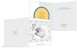 Baby Dankeskarte Herzrahmen - Blau (K24)