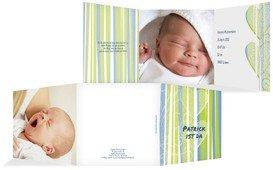 Babykarte hearts and stripes - Blau (K23)
