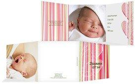 Babykarte hearts and stripes - Braun (K23)