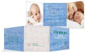 Geburtskarte Teddy-Star - Blau (K23)