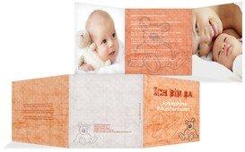 Geburtskarte Teddy-Star - Orange (K23)