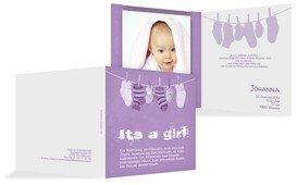 Karte zur Geburt It's a girl - Lila (K24)