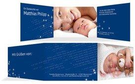 Geburtskarte Danke Star - Blau (K21)