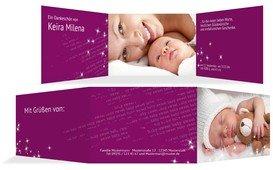 Geburtskarte Danke Star - Pink (K21)