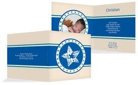 Geburt Dankeskarte Stern - Blau (K24)