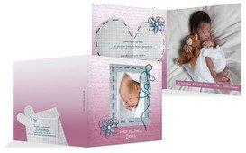 Geburt Dankeskarte Schnipp-Schnapp - Pink (K24)