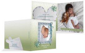 Geburt Dankeskarte Schnipp-Schnapp - Grün (K24)