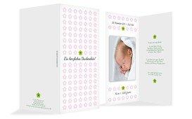 Dankeskarte zur Geburt Blumentapete - Rosa (K35)