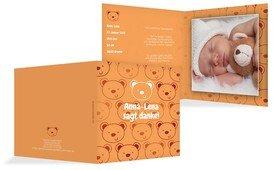 Dankeskarte zur Geburt Bärchengesicht - Orange (K24)