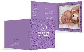 Dankeskarte zur Geburt Bärchengesicht - Lila (K24)