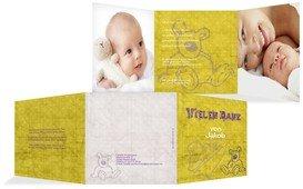 Geburt Dankeskarte Teddy-Star - Gelb (K23)