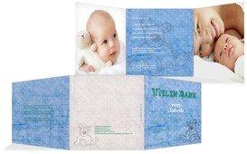 Geburt Dankeskarte Teddy-Star - Blau (K23)