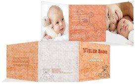 Geburt Dankeskarte Teddy-Star - Orange (K23)