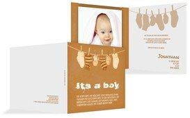 Dankeskarte zur Geburt It's a boy - Braun (K24)