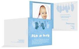 Dankeskarte zur Geburt It's a boy - Blau (K24)