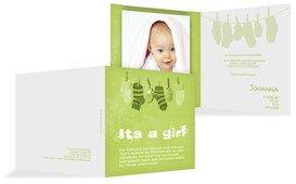 Dankeskarte zur Geburt It's a girl - Grün (K24)