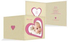Baby Dankeskarte Herzform - Rosa (K24)