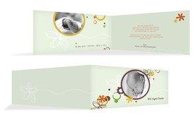 Baby Dankeskarte Blumenornament - Grün (K33)