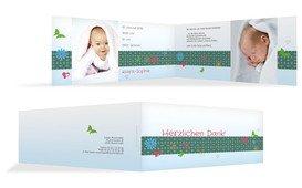 Baby Dankeskarte colorful garden - Türkis (K33)