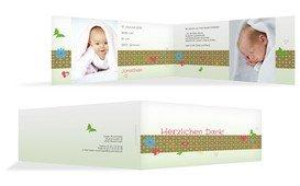 Baby Dankeskarte colorful garden - Gelb (K33)