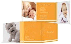Geburt Dankeskarte klangvolle Streifen - Gelb (K23)
