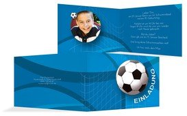 Geburtstagseinladung Fussball Foto - Blau (K19)