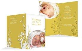 Einladungskarte Taufe Florale Schnörkel - Gelb (K20)