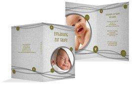 Einladungskarte Taufe Taufsymbole an Schnüren - Grün (K20)