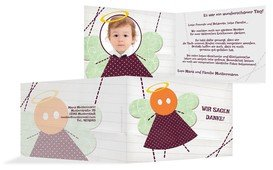 Dankeskarte Taufe Stoffengelchen - Rot (K19)