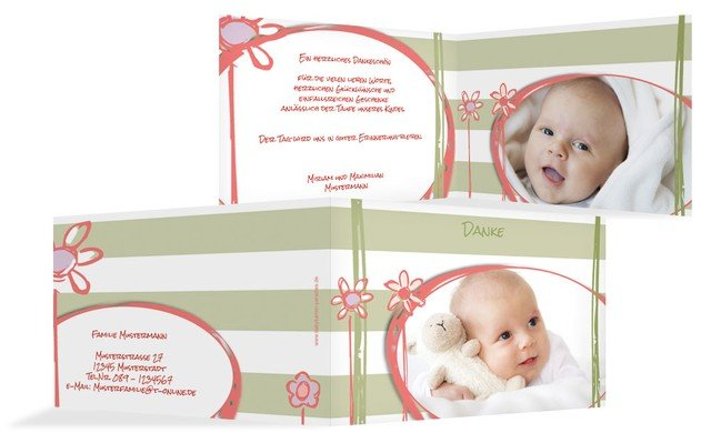 Dankeskarte Taufe Flowers and Stripes